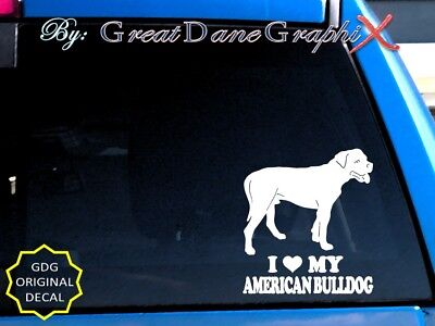 I Love My American Bulldog - Vinyl Decal Sticker / Color Choice - HIGH QUALITY