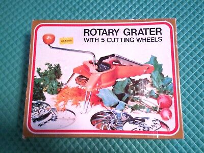 Vintage 1977 Kitchen King Rotary Grater 5  Cutting Blades New With Box Free Ship