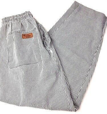 The Happy Chef Pants Men Women M - Checkered Houndstooth Drawstring - Unisex Med