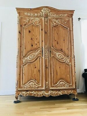 Large French Style Ornately Carved Armoire  Wardrobe LOCAL PICKUP NO PP