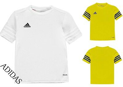 adidas Kids 3 Stripe Estro T-Shirt Entrada Jersey Short Sleeved Tee Top age 7-13