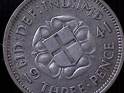 1941 Great Britain Silver Threepence 3 Three Pence KM 848 UK GB Value Coin Lot 1