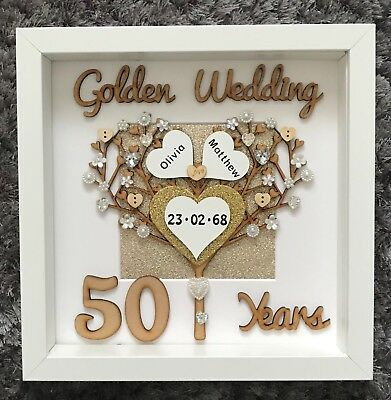 Handmade Personalised 50th Golden Wedding Anniversary Tree Frame