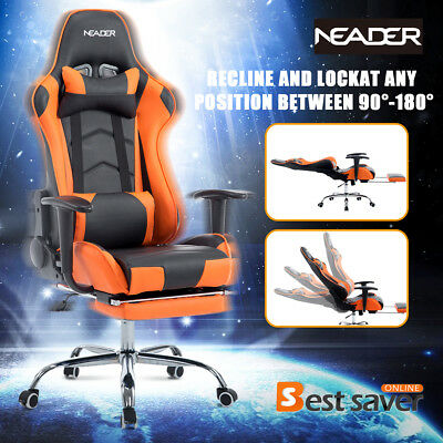 NEADER XL Executive Racing Gaming Chair High Back w/Footrest Computer Chair Blue