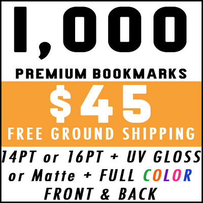 1000 Custom Full Color 2x8 16PT Bookmarks UV Glossy Promotional Real Printing