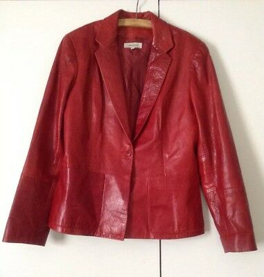 Vintage Bright Poppy Red Single Button Chic Leather Jacket, Lined 12 Trucco