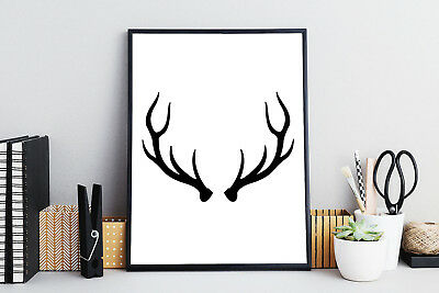 Black & White Deer Antlers Wall Art Print Quote Poster | Illustration Gallery A3