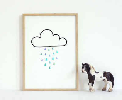Rain Cloud Nursery Room Wall Art Print Full Colour Black Typography Word Poster