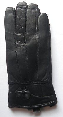 Ladies Black Fine Leather Stitched Gloves with Small Bow Detail