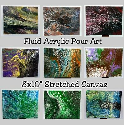"Original Fluid Acrylic Pour Abstract Art Painting on 8x10"" Stretched Canvas"