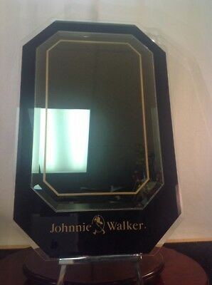 Vgt. 70'S Johnnie Walker Black Scotch Rare Promo. Mirror Beveled Glass