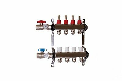 "4 loop/branch 1/2"" Pex Manifold with ball valve Stainless steel Radiant Heating"