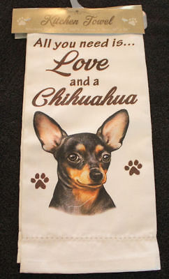 Chihuahua Black Dog Breed Cotton Kitchen Dish Towel