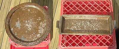 Old Copper Charger + Tray Hand Hammered Patina Verdigris Arts Crafts Mission L3