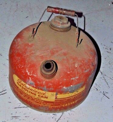 Vintage EAGLE Galvanized GAS CAN Red Vented with Wooden Bucket Bail Handle
