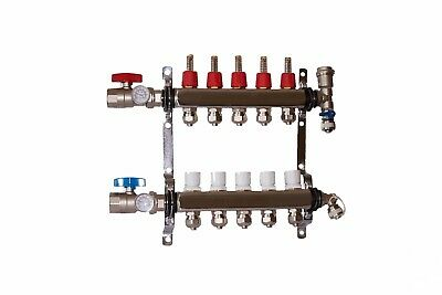 "5 Loop/Branch 1/2"" Pex Manifold Stainless Steel Radiant Floor Heating Set/Kit"