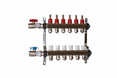 "6 loop/branch 1/2"" Pex Manifold with ball valve Stainless steel Radiant Heating"