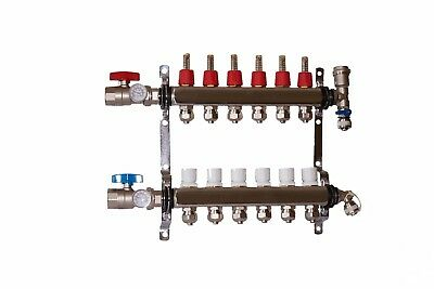 "6 Loop/Branch 1/2"" Pex Manifold Stainless Steel Radiant Floor Heating Set/Kit"