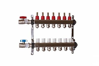 "7 loop/branch 1/2"" Pex Manifold with ball valve Stainless steel Radiant Heating"