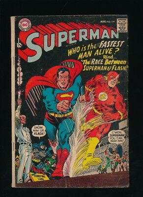 SUPERMAN #199 D.C. COMICS 8/1967 VS. FLASH RACE JLA CAMEO **UNPRESSED** a