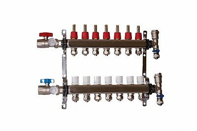 "7 Loop/Branch 1/2"" Pex Manifold Stainless Steel Radiant Floor Heating Set/Kit"