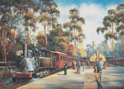 Blue Opal Deluxe John Bradley Arrival Of Puffing Billy 1000 piece Jigsaw Puzzle