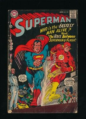 SUPERMAN #199 D.C. COMICS 8/1967 VS. FLASH RACE JLA CAMEO **UNPRESSED** b