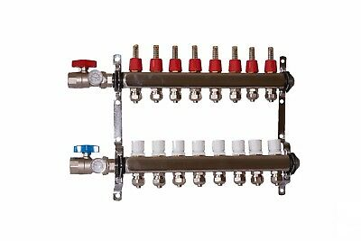 "8 loop/branch 1/2"" Pex Manifold with ball valve Stainless steel Radiant Heating"
