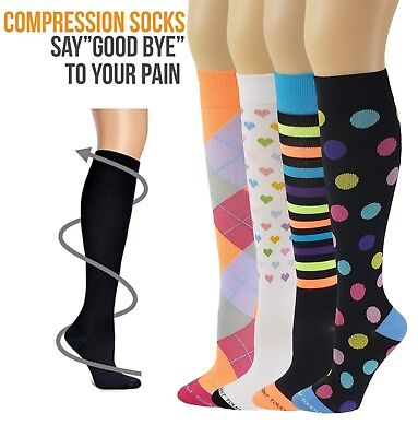 Differenttouch 4 Pairs Women Anti-Fatigue Graduated Compression Knee High Socks