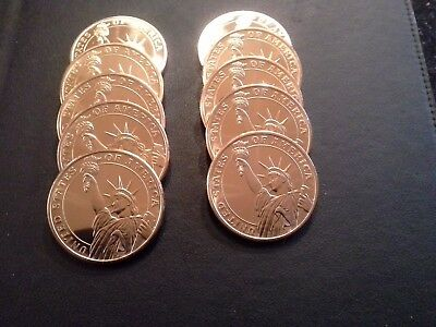 .999 Copper 1 Oz Standing Liberty Bullion Rounds *gem Brilliant* 10 Lot Of Ten