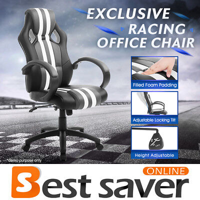 NEADER High Back PU Leather Office Chair Racing Gaming Swivel Computer Desk