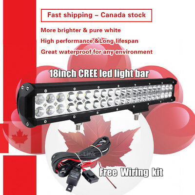 18 inch CREE LED Light Bar Work Off road Truck Boat Jeep Ford SUV ATV UTE 4WD 17