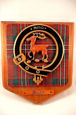 "VTG Scottish Clan ""Scott"" Tartan Crest Shield Coat Arms Carved Oak Plaque"