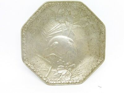 Antique Chinese Silver Alloy Dish Hallmarked With Decorated Bird 33.9 Dwt