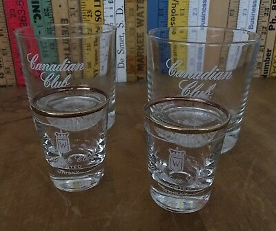 2 Canadian Club Whiskey Glasses w/ 2 Shot Glasses With Gold Rim