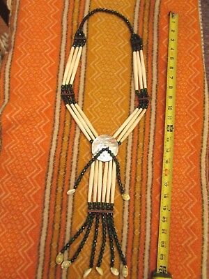 Old Native American 3 Strand Hairpipe & Abalone ( big necklace ,Plains Plateau )