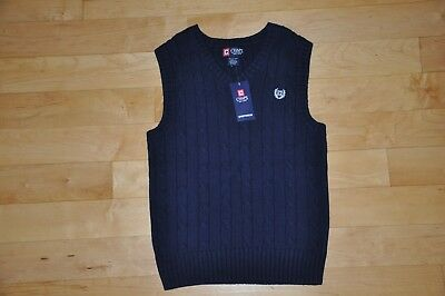 Boys Size 10-12 Chaps Navy Blue Easter Spring Sweater Vest NWT Retail Price $34