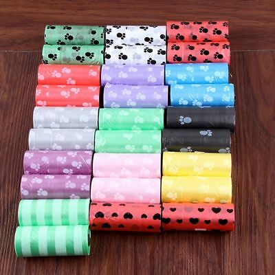 Poo Scooper Garbage Refills Clean-up Waste Poop Bags Pick 5Rolls/75Pcs Pet Dog