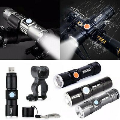 New T6 COB Zoomable Flashlight Torch 18650 USB Rechargeable LED Light Lamp