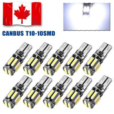 10X Cool White 7020 T10 Led Canbus Error Free Interior License Plate Tail Lights