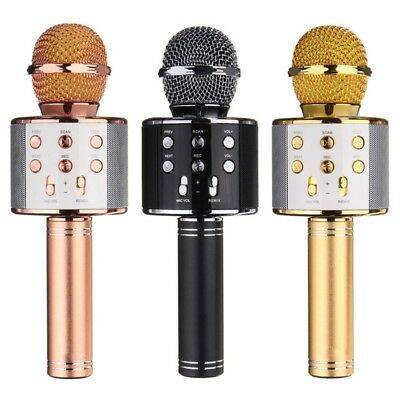 3 Colors Wireless Bluetooth Karaoke WS-858 Microphone USB KTV Player Mic Speaker