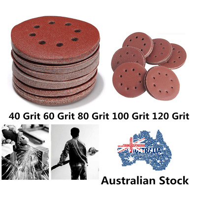 "125mm 5"" 40-120 Grit Pack Size Round Sanding Disc Discs Hook Loop 8 Hole AuStock"