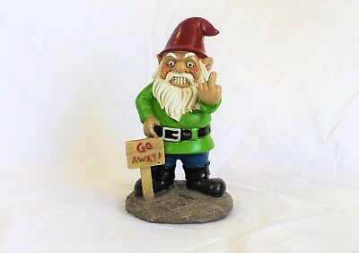 Go Away! Garden Gnome Statue Poly Resin 9 inches Novelty Bigmouth Inc