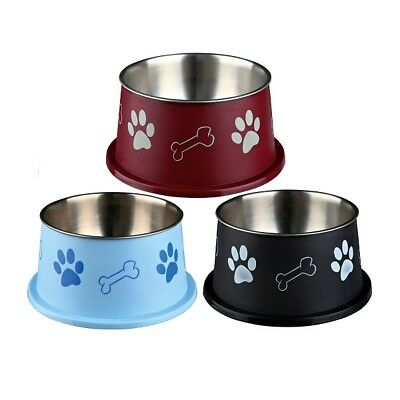 Trixie Stainless Steel Long-Ear Dog Water & Food Bowl With Non-Slip Rubber Base