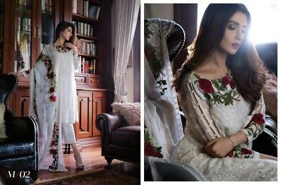 Pakistani Mahiman 2018 Latest Chiffon Embroidery Collection Shalwar Kameez