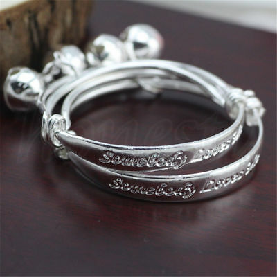 2pcs Somebody Loves Me Small Bell Silver Baby Children Jewelry Bangle Bracelet