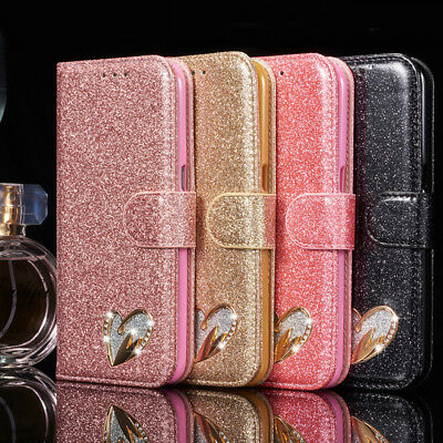 For Samsung Galaxy S9 S10 S7 Leather Wallet Case Bling Glitter Heart Flip Cover