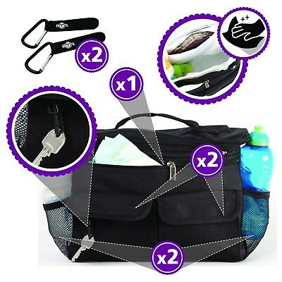 BTR Pram Buggy Organiser Storage Bag W/Hooks x 2 Baby Pushchair Accessory