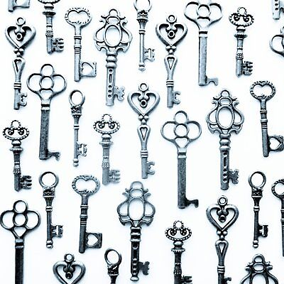 Vintage Style Antique Skeleton Furniture Cabinet Old Lock Keys Silver-Lot Of 48
