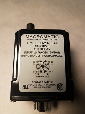 Macromatic SS-60228 Time Delay Relay, On Delay, 24 VAC/VDC NEW